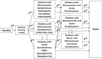 Figure 1: Markov Model of Diabetes States